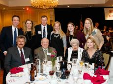 Front Row: Bill Olsen '66, Geoff Hall, Nancy Maynard, Barbara Maynard Scollan '71; Back Row: Kevin Regan, Eva Regan, Ed Scollan '72