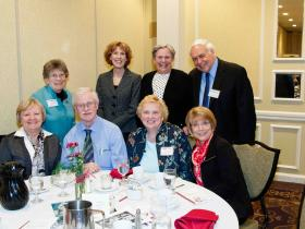 Front Row: Ann Swierzbin, Richard Coffey, Denise Coffey, Sandie Johnson Taylor '69; Back Row: Nancy Williams, Carol Rodgers, Fran Meidell, Steve Meidell