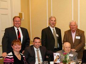 Evelyn Thoren, Joseph Ready '00, Dennis Ready '60, Jay Lang Superintendent, Leonard Doolan: Back Row: Glenn Thoren, Paul Cohen Town Manager, John Harrington '64