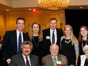 Front Row: Bill Olsen '66, Geoff Hall, Nancy Maynard, Barbara Maynard Scollan '71; Back Row: Kevin Regan, Eva Regan, Ed Scollan '72