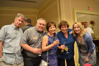 L-R Kris Pisarik, Bob Fields, Susan (Underwood) Strauss, Martha (Duffy) McAuliffe, Laurie (Conway) Tarpey