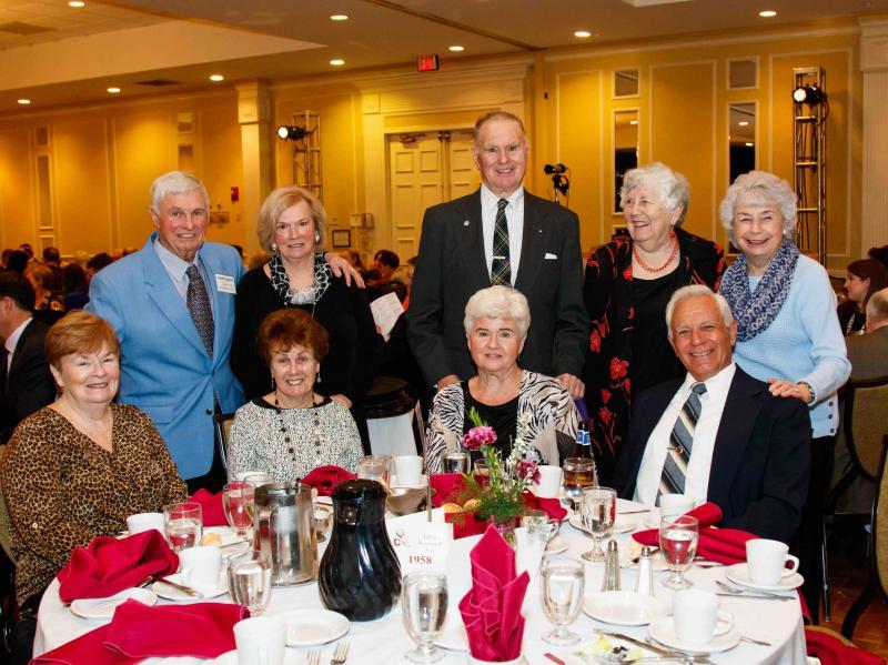 Front Row: Martha Crane Flaherty '58, Judy Cullen Thompson '58, Carol Belleville Curran '58, Jim Curran '56; Back Row: Bob Gagnon '58, Bette Gagnon, George Merrill '47, Pat Toms Merrill '51, Sheila Reynolds Richardson '51